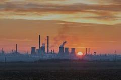 Por do sol industrial Foto de Stock Royalty Free