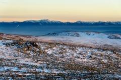 Por do sol invernal na montanha de Vitosha, Bulgária Imagens de Stock Royalty Free