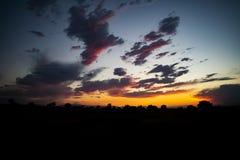 Por do sol do inverno de Colorado imagem de stock
