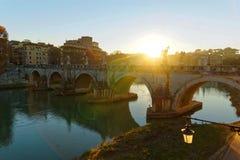 Por do sol do inverno de Roma imagens de stock royalty free