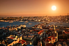 Por do sol Istambul Foto de Stock Royalty Free