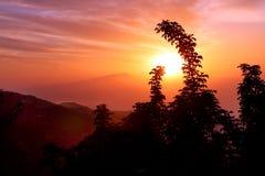 Por do sol Itália da costa de Amalfi Imagem de Stock