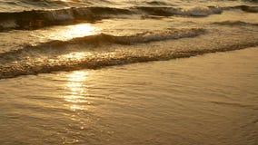 por do sol 4K surpreendente sobre a praia tropical a praia do oceano acena na praia no tempo do por do sol, luz solar reflete na  video estoque