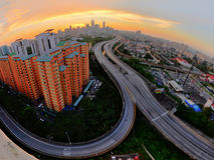 Por do sol Kuala Lumpur Fotografia de Stock Royalty Free