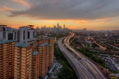Por do sol Kuala Lumpur Foto de Stock