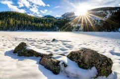 Por do sol do lago bear em Colorado Imagem de Stock Royalty Free