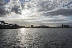 Por do sol do leste do flutuador de Birkenhead fotografia de stock royalty free