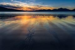 Por do sol lindo na praia Luskentyre, ilha de Harris, Escócia Imagens de Stock Royalty Free