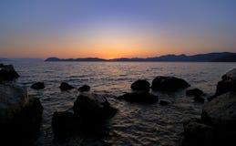 Por do sol litoral Imagens de Stock Royalty Free