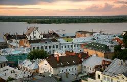 Por do sol mágico em Nizhny Novgorod Rússia Fotos de Stock