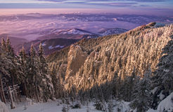 Por do sol místico do inverno fotografia de stock