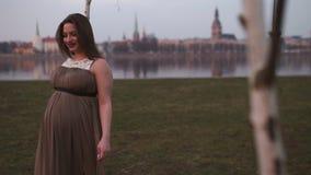 Por do sol magenta v?vido - a mulher gravida nova est? feliz em seu pa?s de destina??o Let?nia do curso com uma vista sobre a cid video estoque