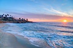 Por do sol magnífico em La Jolla Califórnia Fotografia de Stock