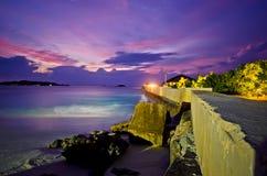 Por do sol Maldives Imagem de Stock