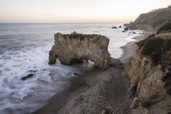 Por do sol Malibu Califórnia de State Beach After do matador do EL fotografia de stock