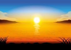Por do sol do mar da silhueta Foto de Stock