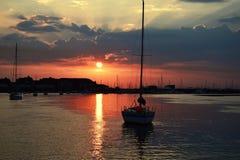 Por do sol marinho Fotografia de Stock