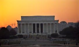 Por do sol memorável do Washington DC de Lincoln imagens de stock