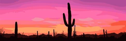 Por do sol mexicano do deserto ilustração do vetor