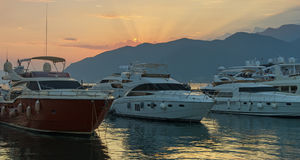 Por do sol, Montenegro Imagem de Stock Royalty Free