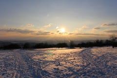 Por do sol moravian do inverno Foto de Stock
