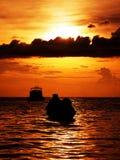 Por do sol morno dramático Imagem de Stock