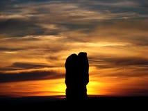 Por do sol morno perto do parque nacional dos arcos Foto de Stock