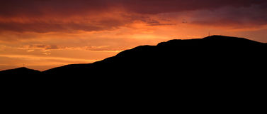 Por do sol Mt clássico Wellington Fotografia de Stock