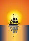 Por do sol na água ilustração do vetor