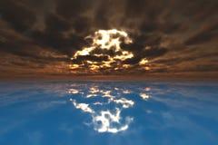 Por do sol na água azul Fotografia de Stock