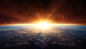 Por do sol na órbita foto de stock royalty free