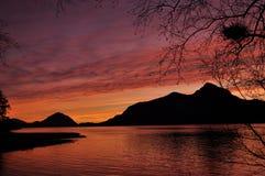 Por do sol na angra de Porteau Fotografia de Stock