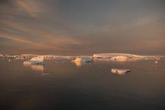 Por do sol na Antártica Imagens de Stock