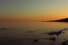 Por do sol na baía de Ussuri Foto de Stock