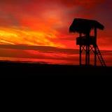 Por do sol na baía do Oceano Pacífico Imagem de Stock