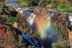 Por do sol na cachoeira de Epupa, Namíbia imagem de stock royalty free