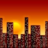 Por do sol na cidade ilustração do vetor
