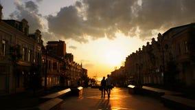 Por do sol na cidade Fotografia de Stock
