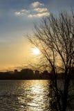 Por do sol na cidade Imagens de Stock Royalty Free