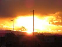 Por do sol na cidade Foto de Stock Royalty Free