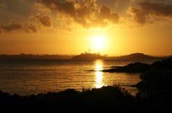 Por do sol na cidade de Auckland Fotografia de Stock