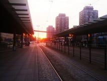 Por do sol na cidade de Wroclaw Foto de Stock