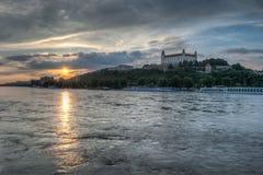 Por do sol na cidade inundada Fotografia de Stock