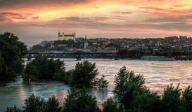 Por do sol na cidade inundada Imagem de Stock Royalty Free