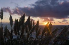 Por do sol na costa atlântica em França imagens de stock