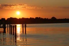 Por do sol na costa de Jersey Fotografia de Stock
