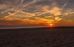 Por do sol na costa de New-jersey do ponto de Cape May Fotografia de Stock