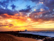 Por do sol na costa norte Fotografia de Stock Royalty Free