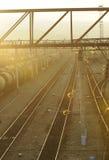 Por do sol na estação de comboio de Ulan Ude fotos de stock royalty free