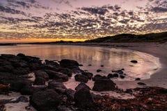 Por do sol na fada portuária, grande estrada do oceano, Victoria, Austrália foto de stock royalty free